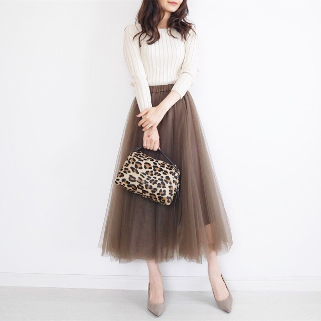 大人の可愛いは作れる♡ブラウンのチュールスカートに挑戦!_1_3