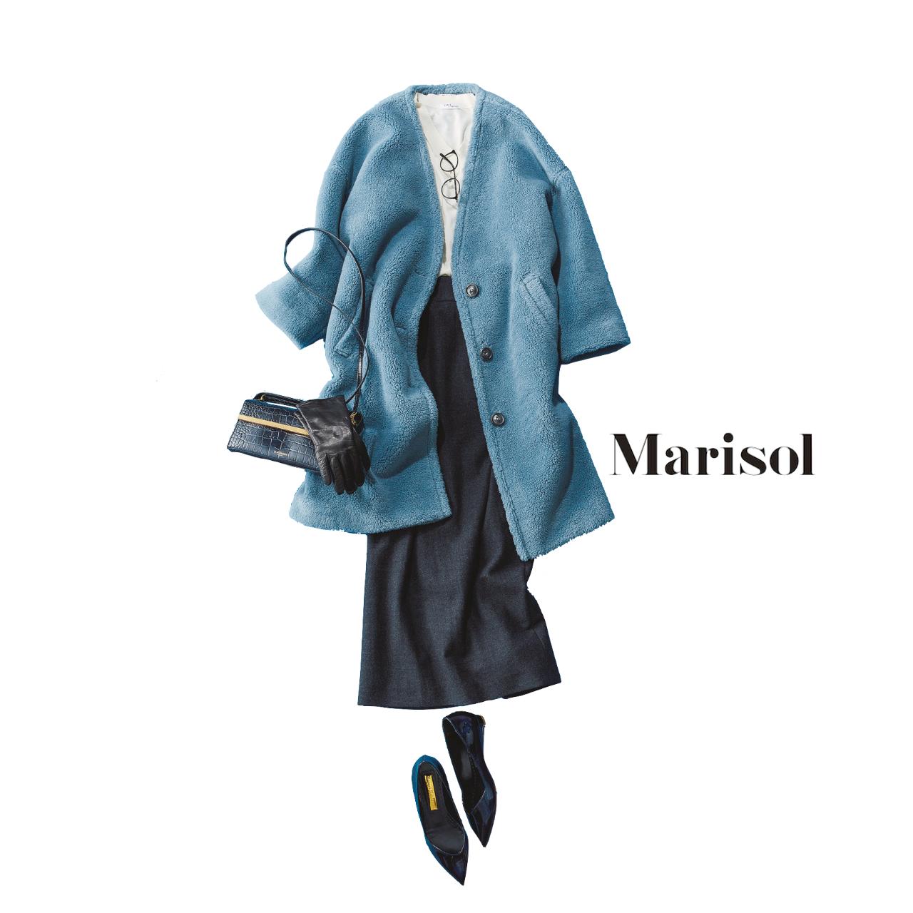 40代ファッション エコムートン×タイトスカートコーデ