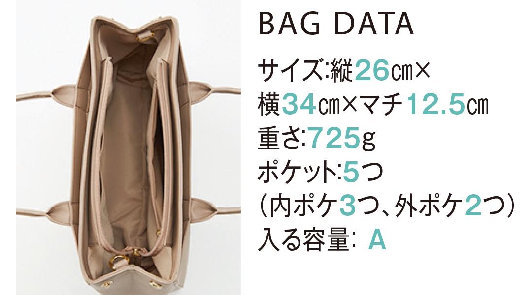 BAG DATA サイズ:縦26cm×横34cm×マチ12.5cm重さ:725gポケット:5つ(内ポケ3つ、外ポケット2つ)入る容量:A
