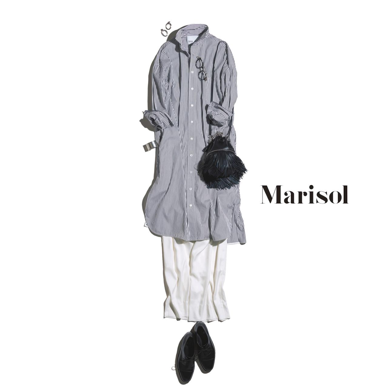 40代ファッション ストライプシャツ×白ワイドパンツコーデ