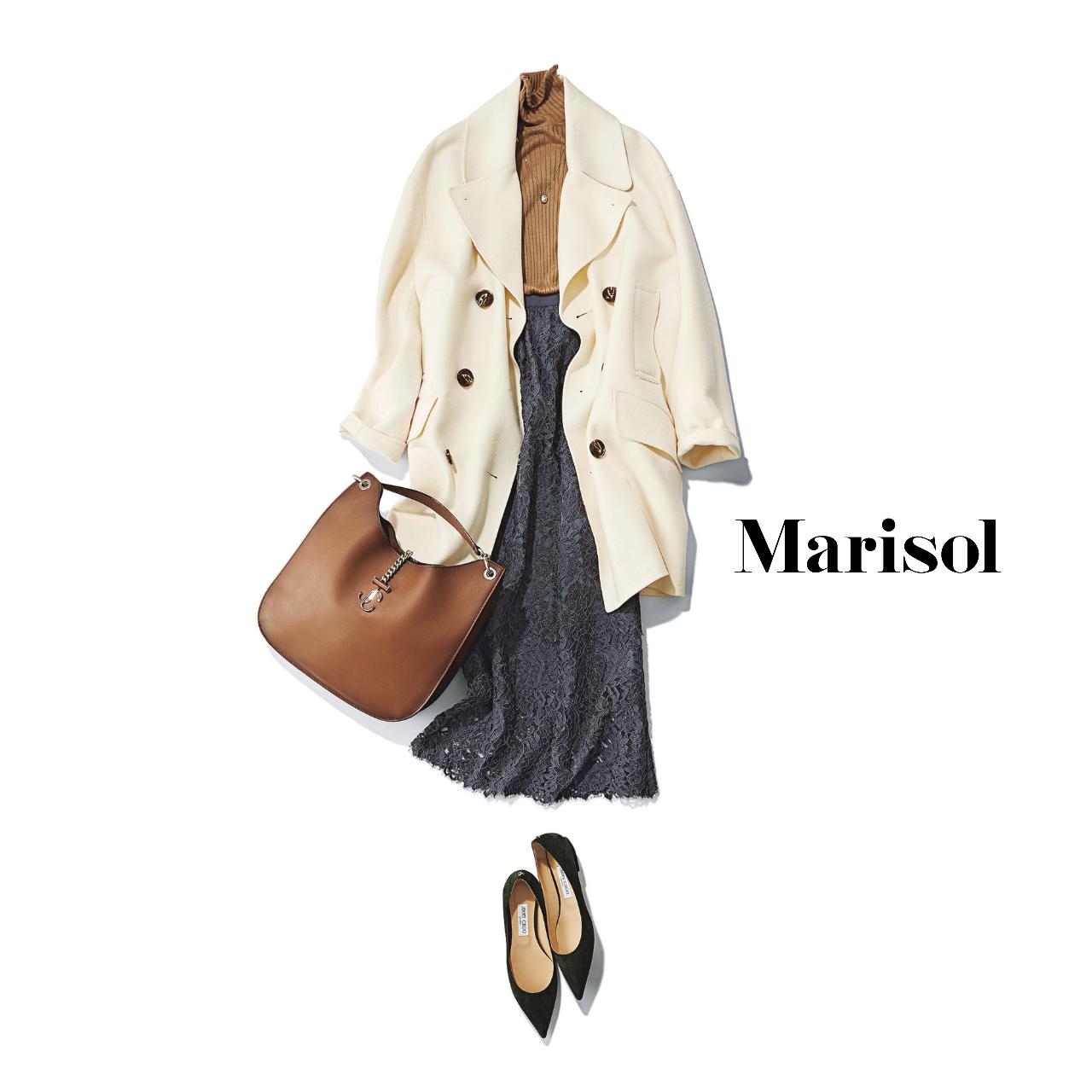40代ファッション  白コート×リブニット×レーススカートコーデ