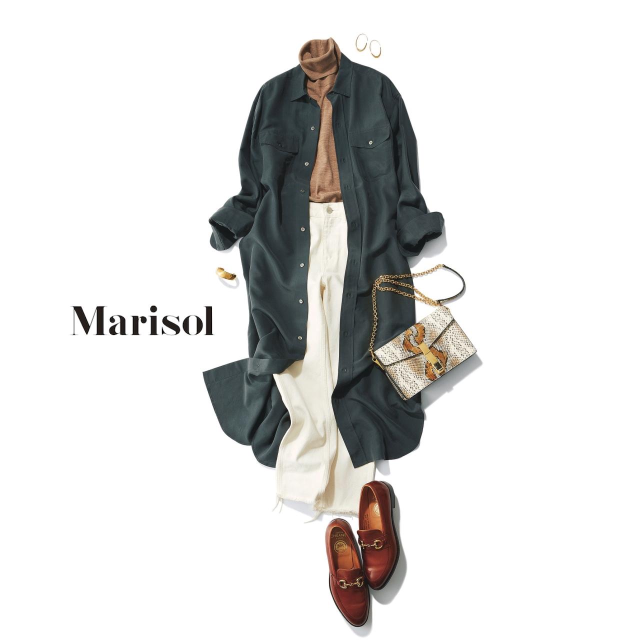 40代ファッション タートルネック×ロングシャツ×ホワイトデニムコーデ