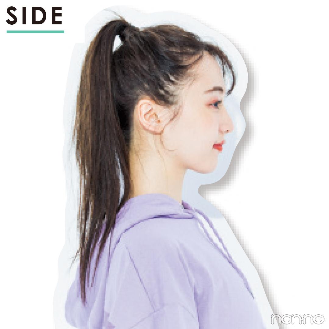 【前髪×ひとつ結びヘアアレンジ図鑑⑬】かきあげ風前髪&ハイポニー_1_4-1