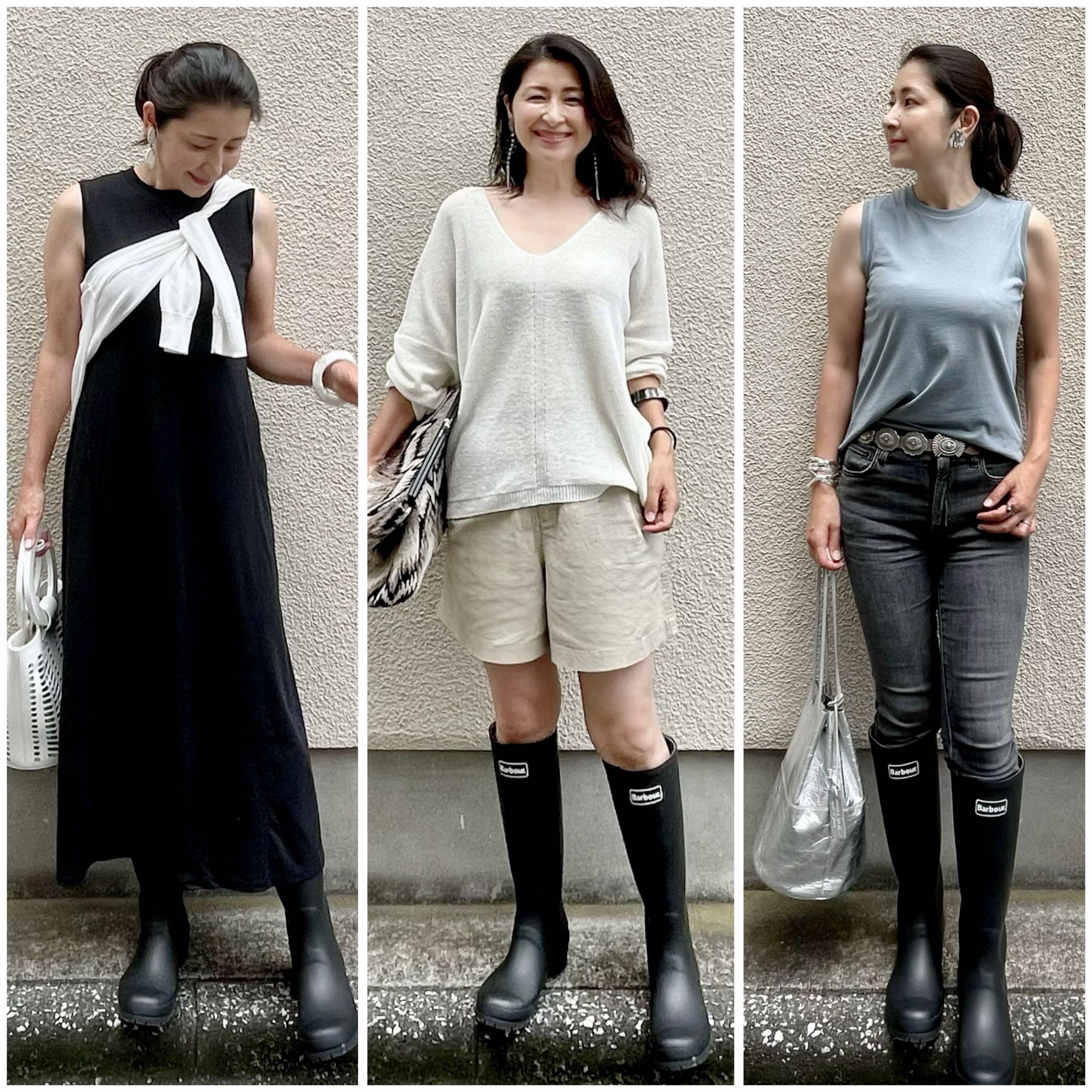 雨の日コーデ3つ、黒のワンピース、ベージュのショートパンツ、黒のデニム、黒のレインブーツ