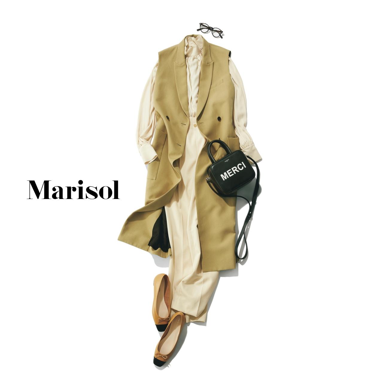 40代ファッション ロングジレ×ベージュブラウス×ベージュパンツコーデ