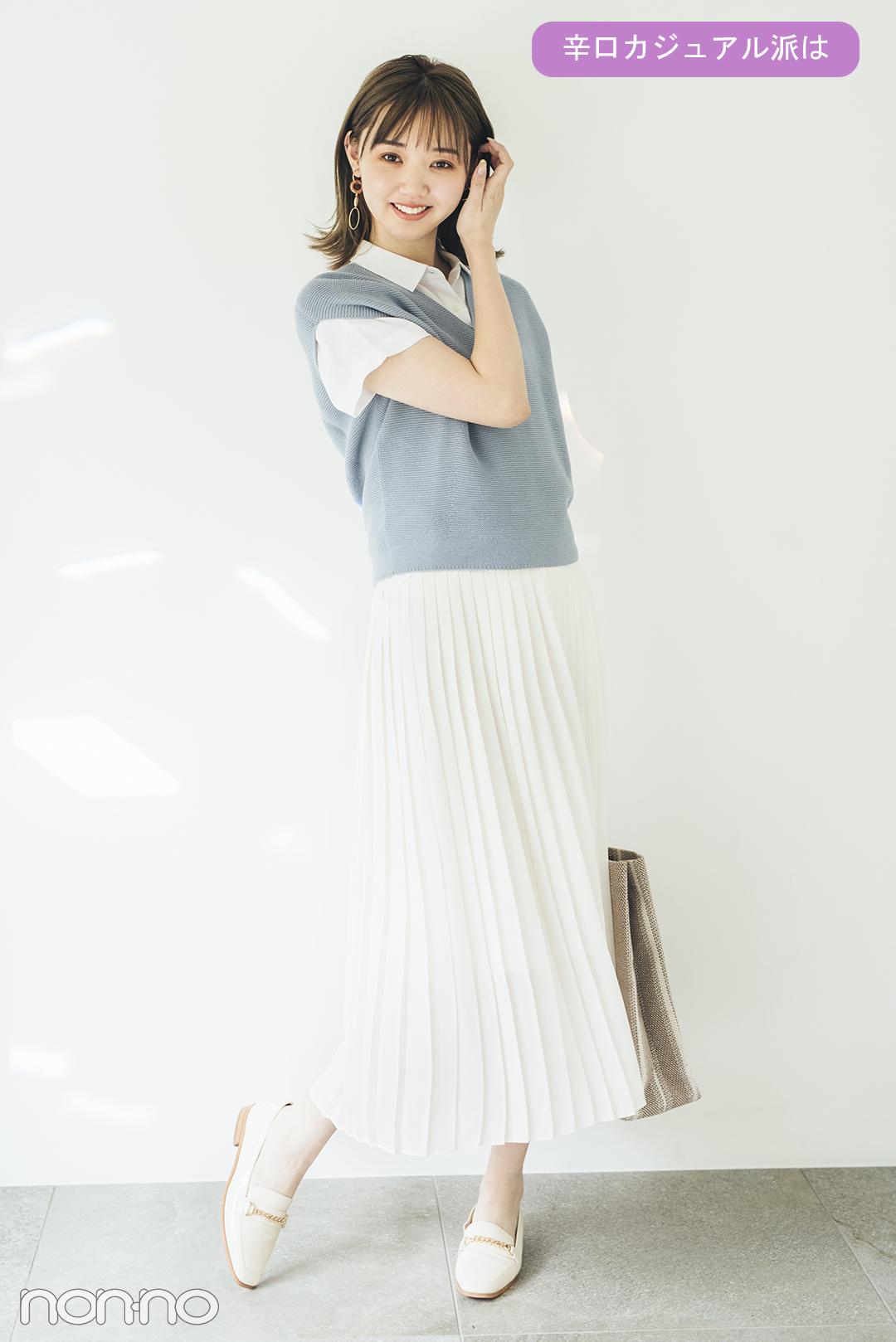 ITEM3 揺れ感が女の子らしい プリーツスカート 辛口カジュアル派は 江野澤愛美