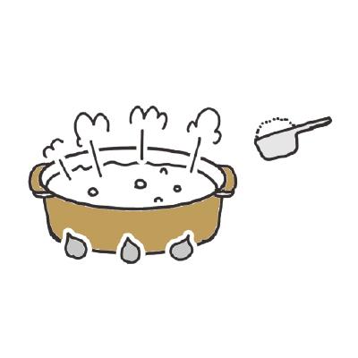 大きな鍋に湯を沸かし