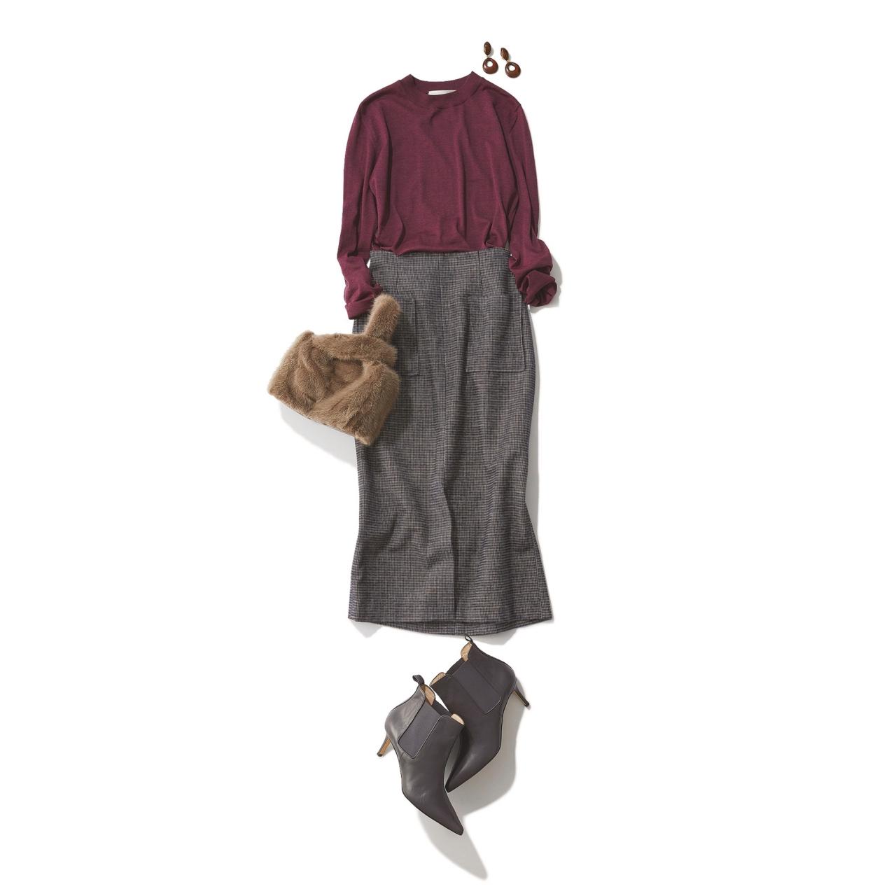 チェック柄スカート×ニットのファッションコーデ