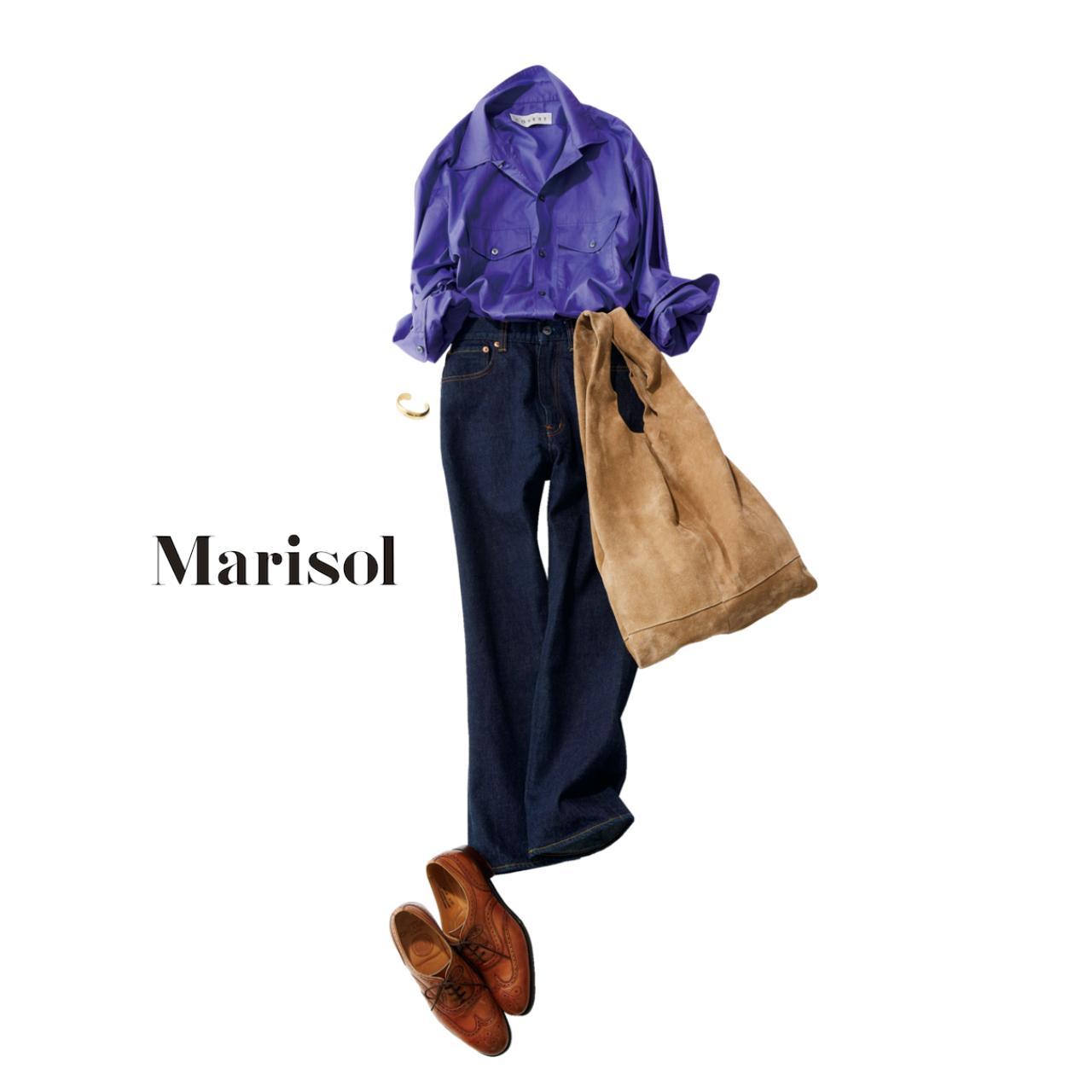 ファッション パープルシャツ×デニムコーデ