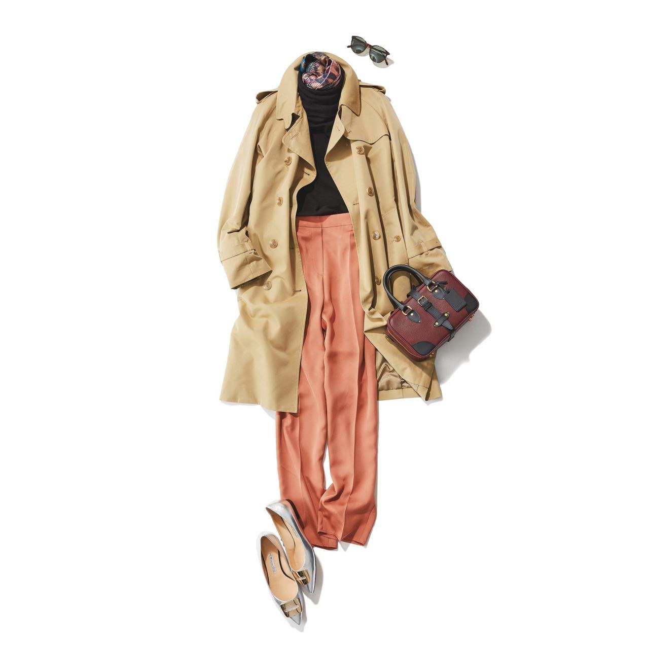 ベージュのトレンチコート×黒ニット&サーモンピンクパンツのファッションコーデ