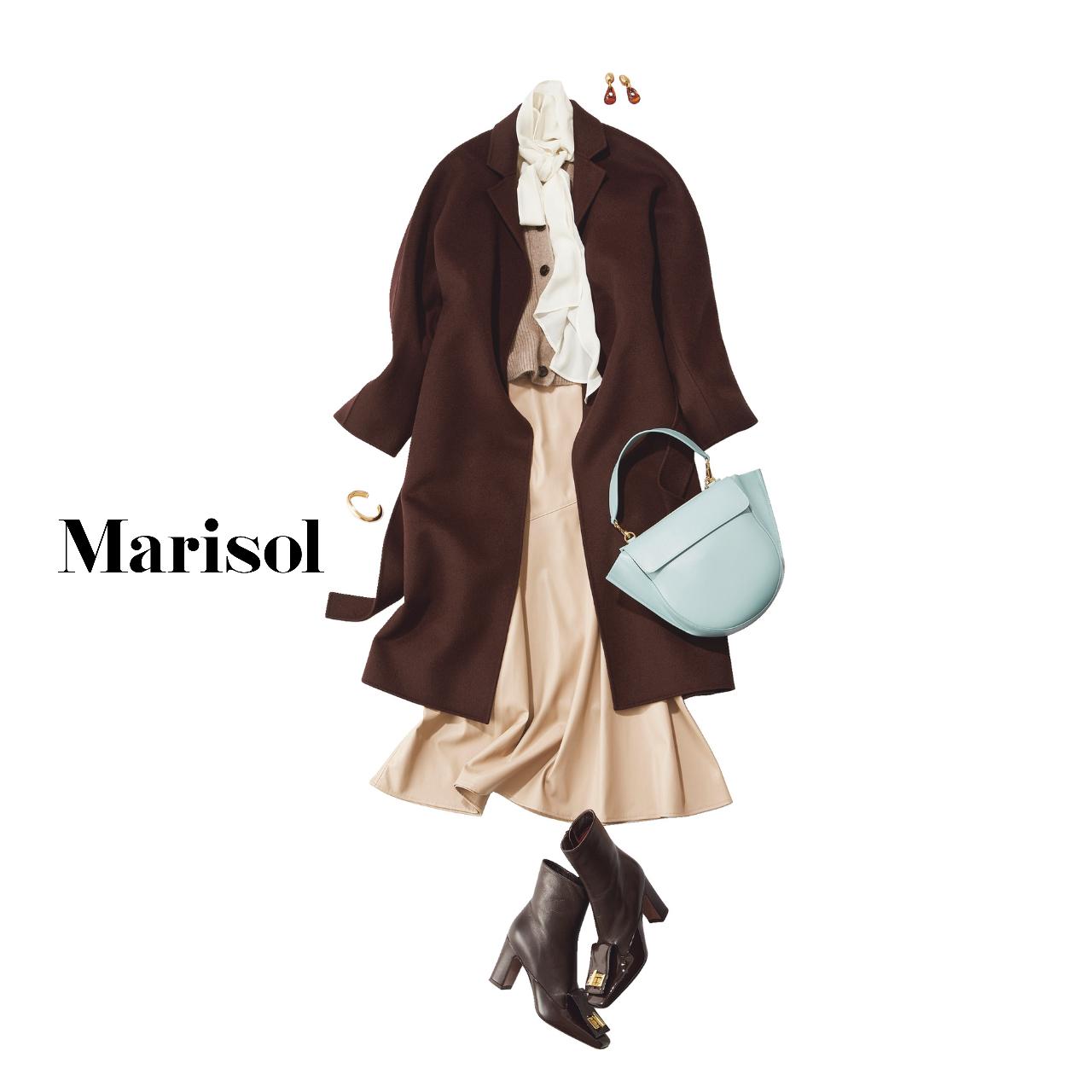 40代ファッション  コート×ボウタイブラウス×エコレザースカート×ブーツコーデ