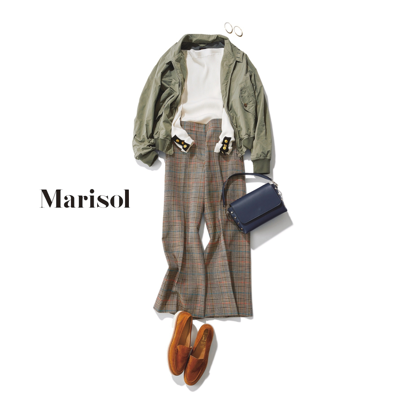 40代ファッション ミリタリーブルゾン×チェックパンツコーデ