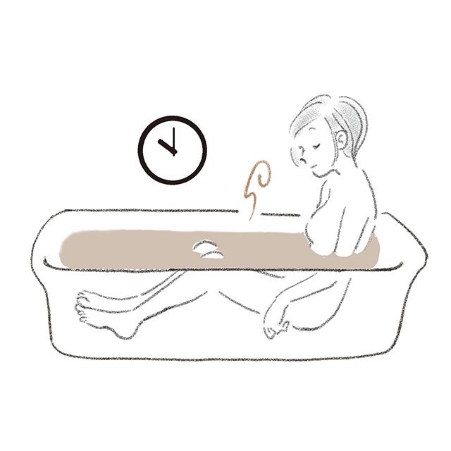 寝る1時間前に、 ぬるめのお風呂を