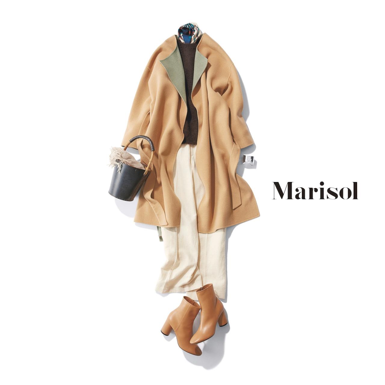 40代ファッション ダブルフェイスコート×ニット×パンツコーデ