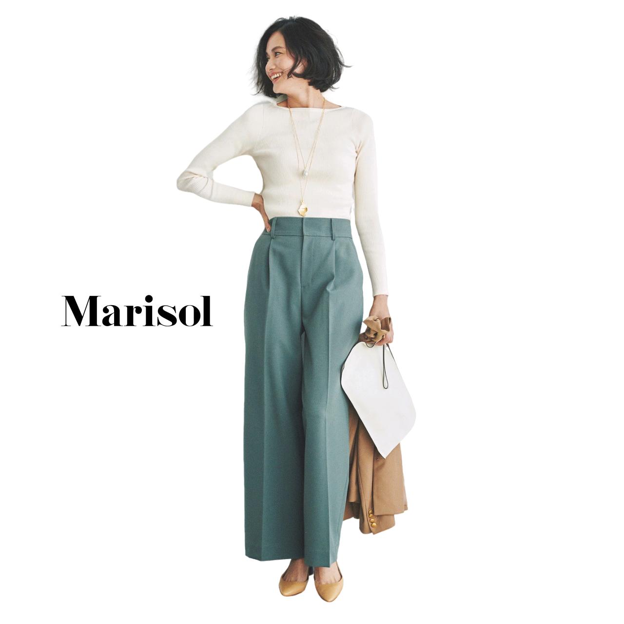 40代ファッション 白リブニット×カラーパンツコーデ