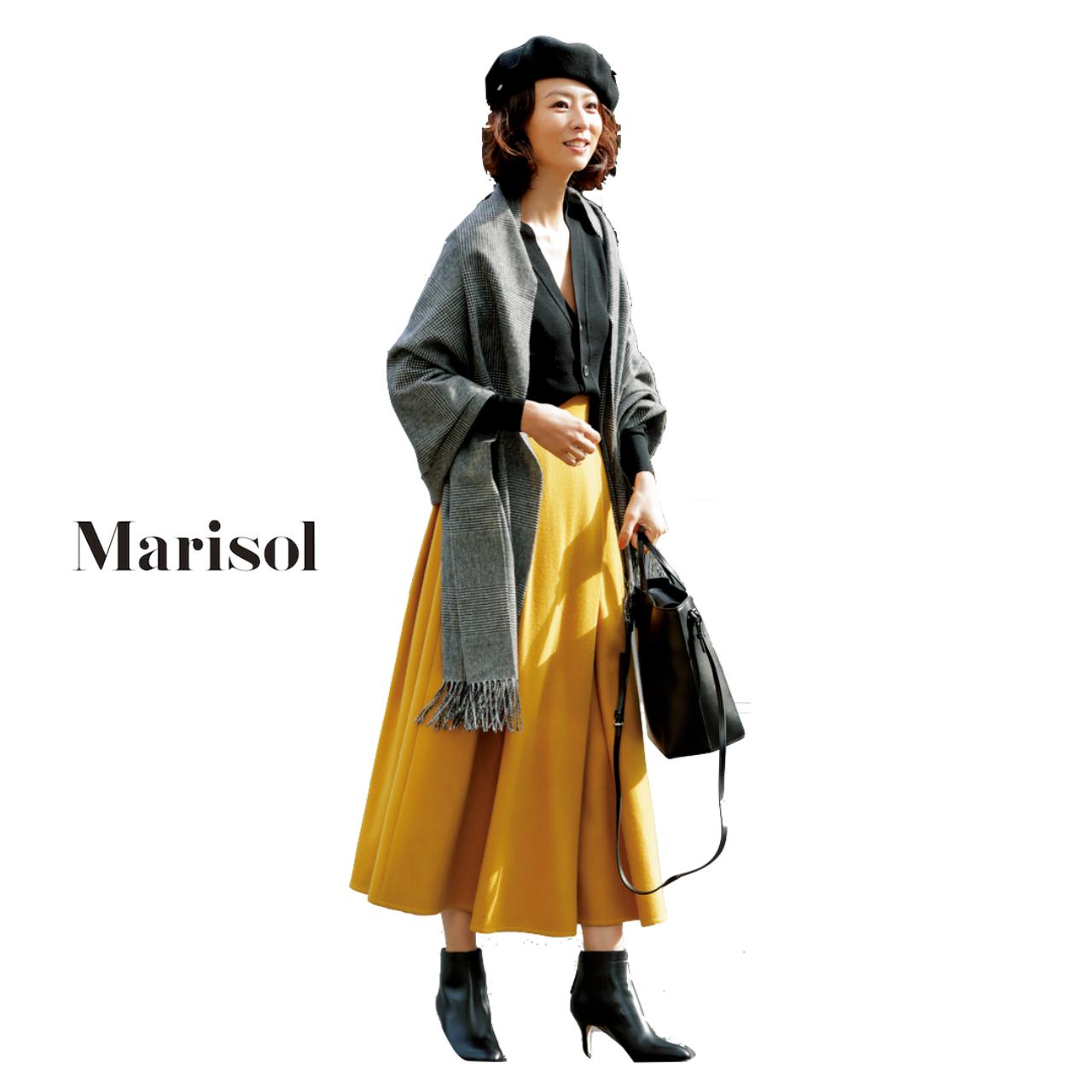 ファッション 黒カーディガン×イエローのマキシ丈スカートコーデ