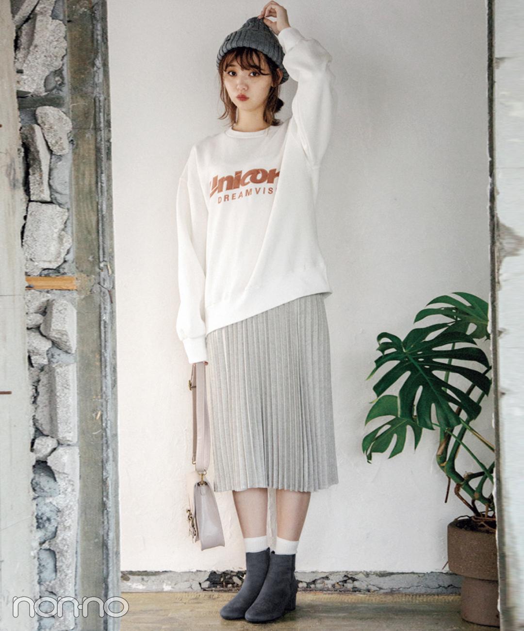 【プリーツスカートコーデ2】スウェット×プリーツスカート