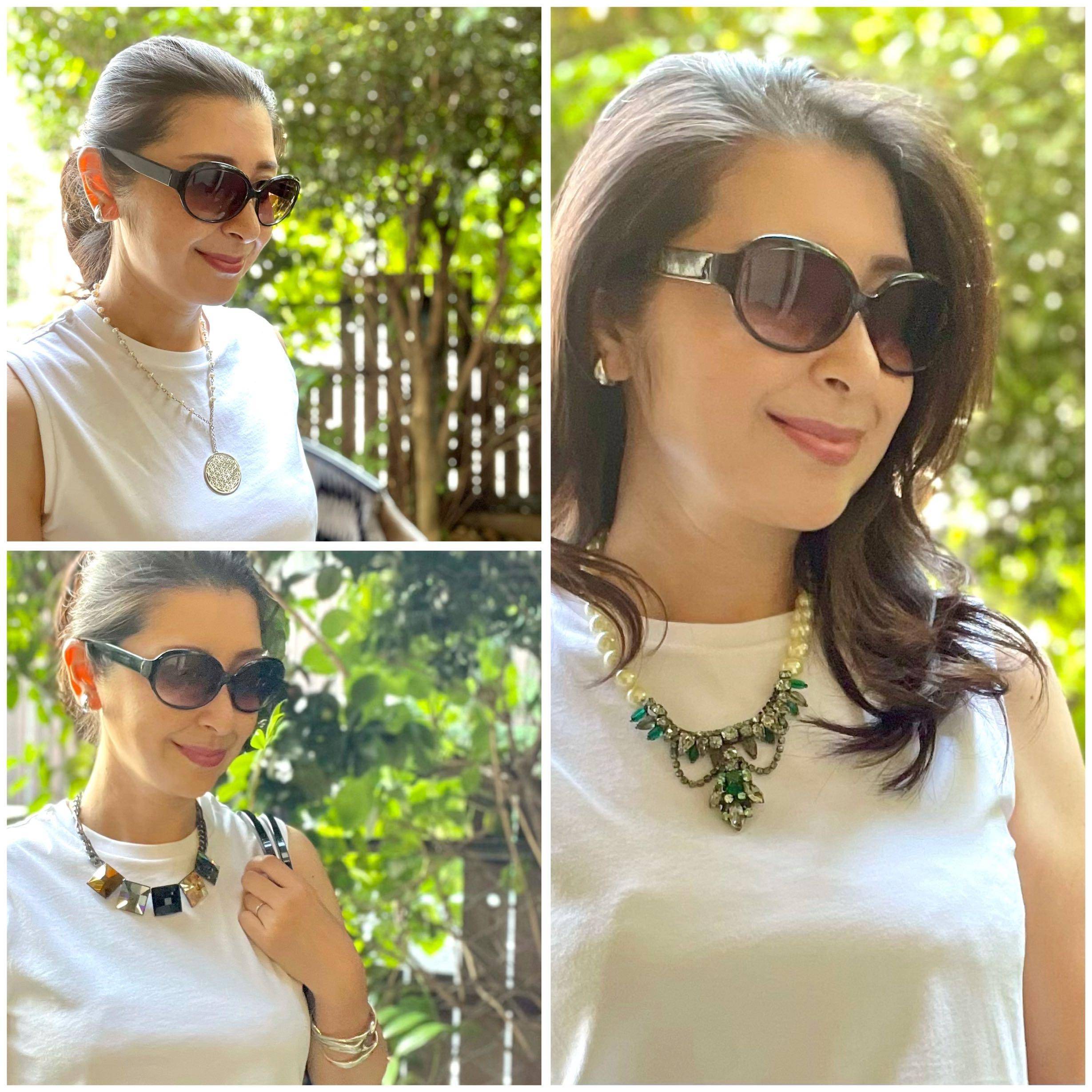 ユニクロ白のノースリーブTシャツにショートネックレスを合わせたスタイルの写真3パターン