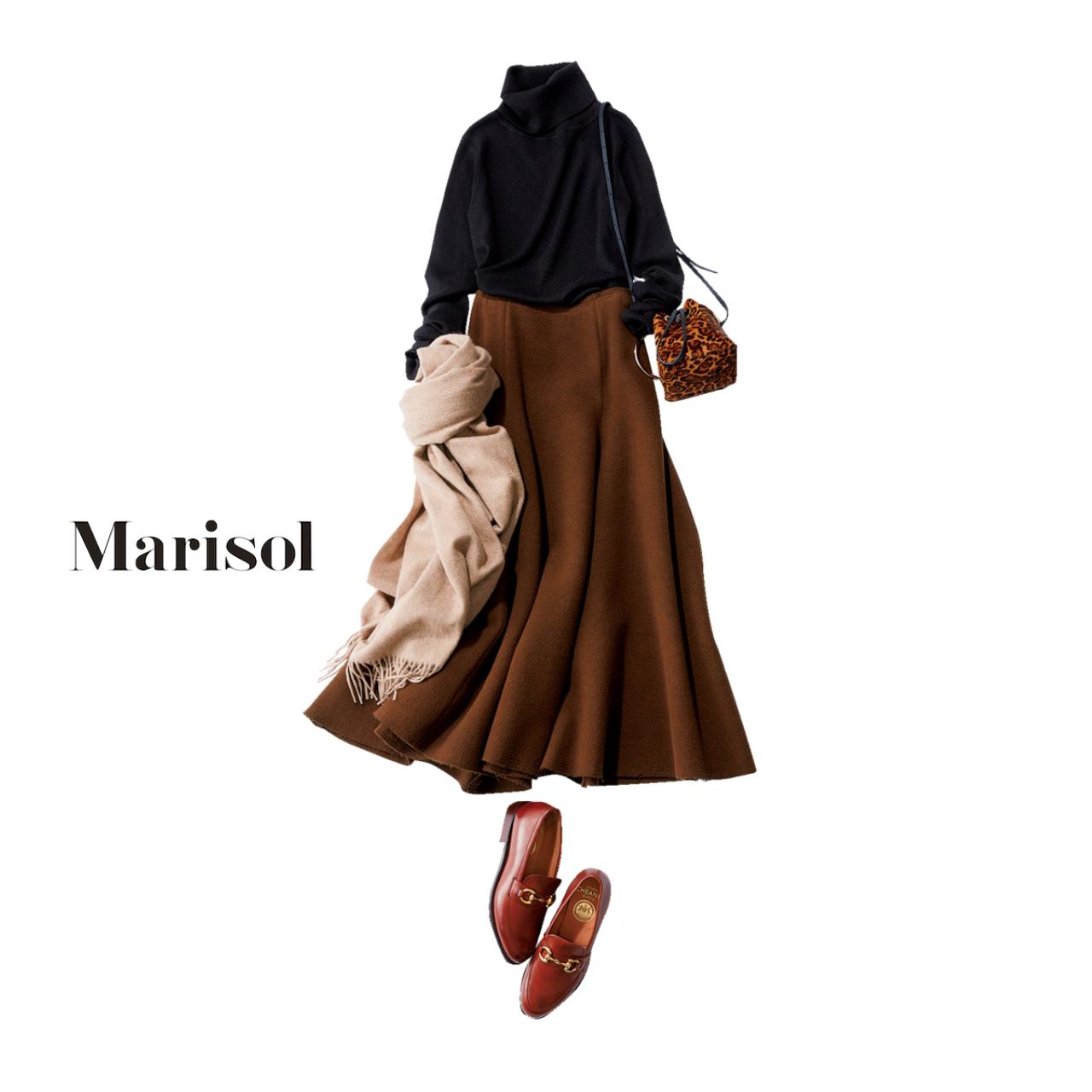 ファッション 黒タートルニット×スカートコーデ