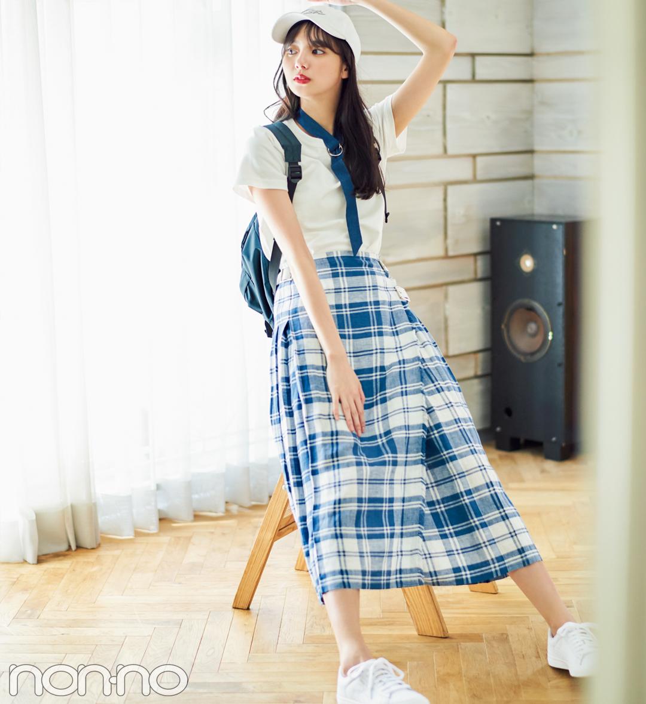 新川優愛、白の無地Tシャツを5通りに着回す!_1_2-5
