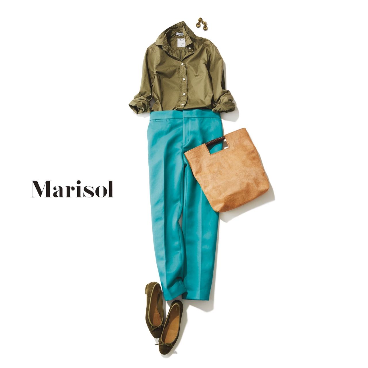 ファッション カーキシャツ×パンツコーデ