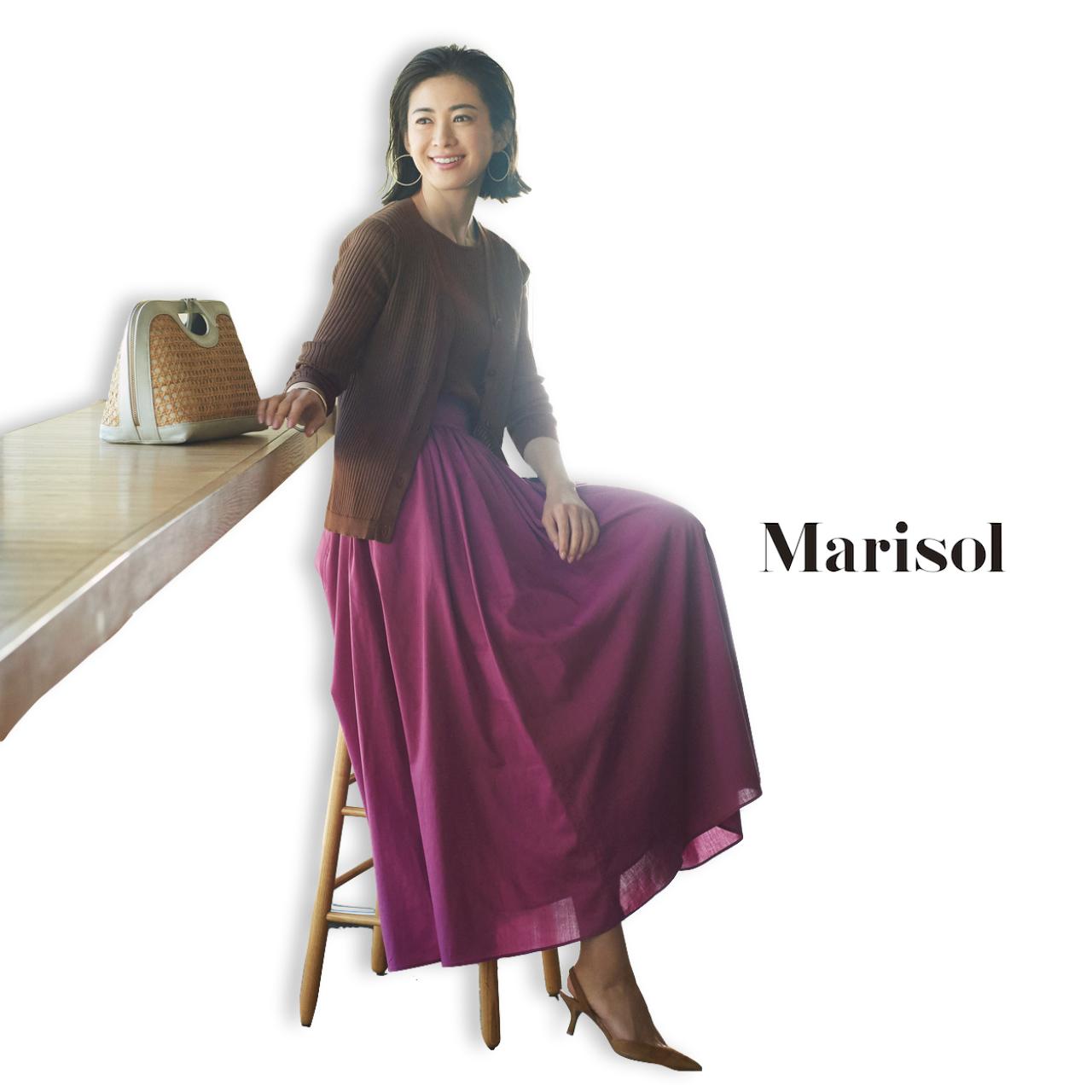 40代ファッション ツインニット×きれい色スカートコーデ