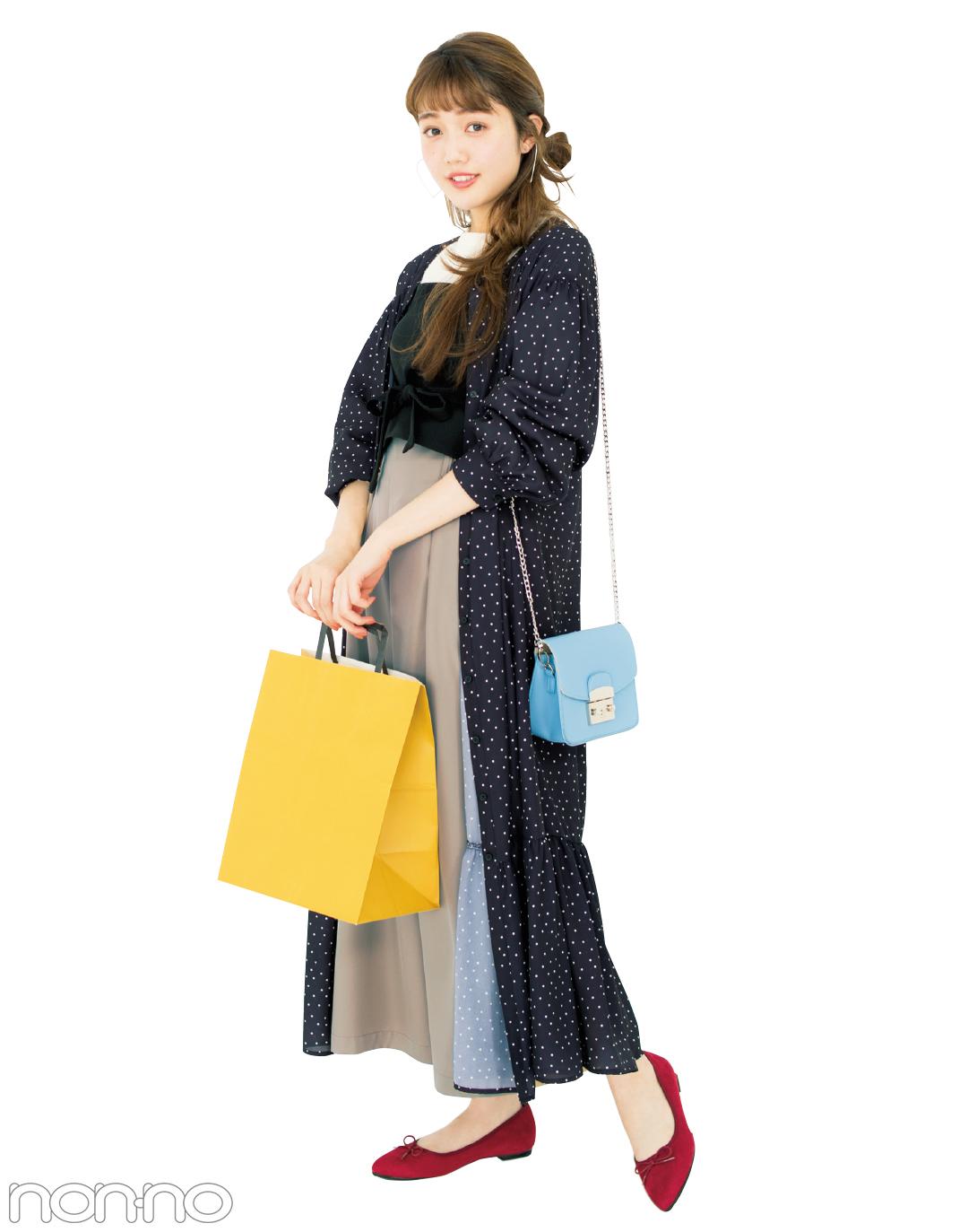 出会いの季節に買いたい♡ マキシ丈の水玉ワンピ、好印象の着回しコーデ3選!_1_2