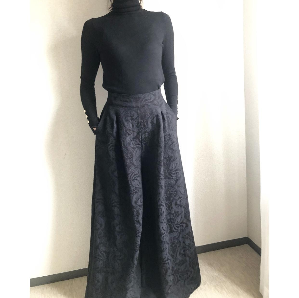 浮き立つ柄のワイドパンツ黒コーデ❤︎_1_3
