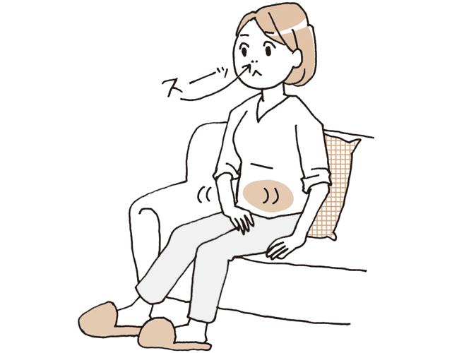 下腹部の筋肉をゆるめて、鼻から自然に息を吸う