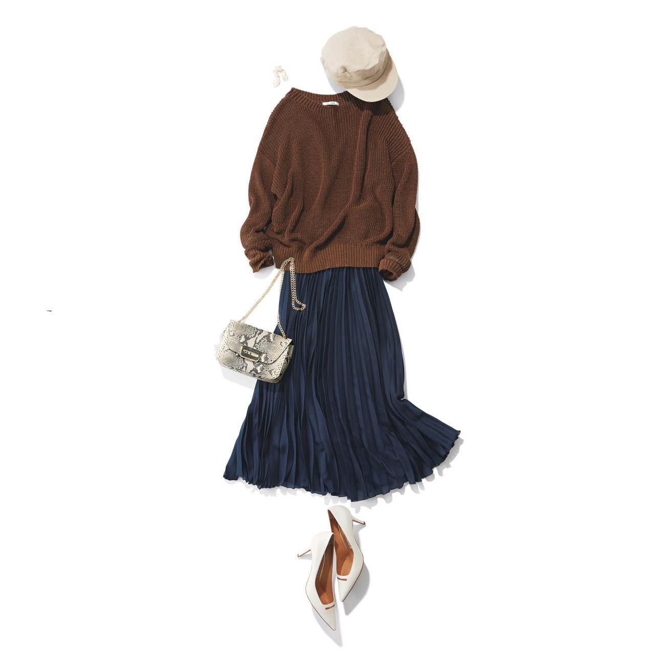 ■帽子×ニット×プリーツスカートコーデ