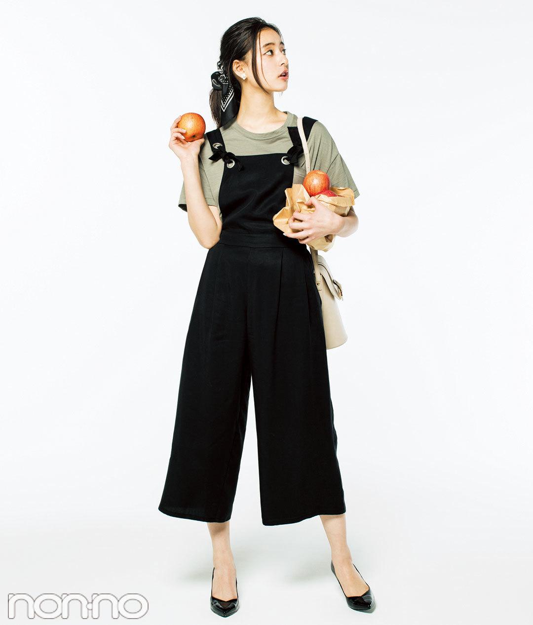 華奢見えする黒サロペット着回し★ノンノモデル新木優子の3スタイルはコレ!_1_4