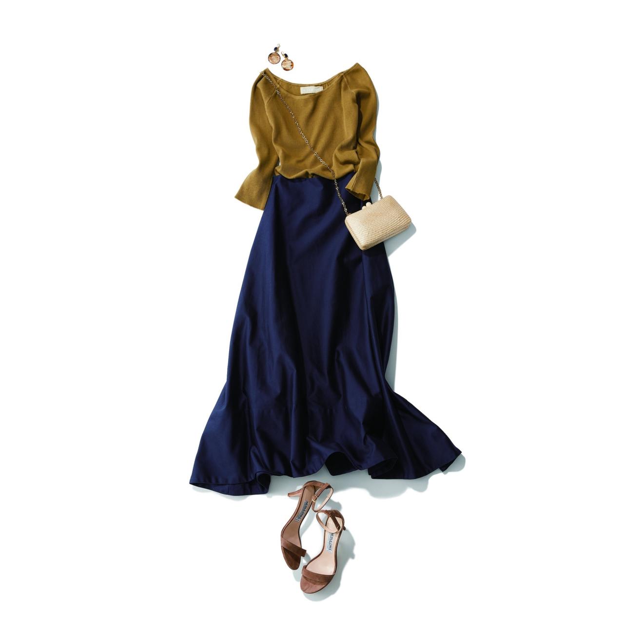 ネイビースカート×オリーブ色のリブカットソーのファッションコーデ