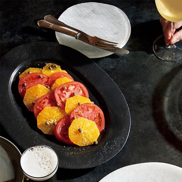 トマトとオレンジのケイパーサラダ