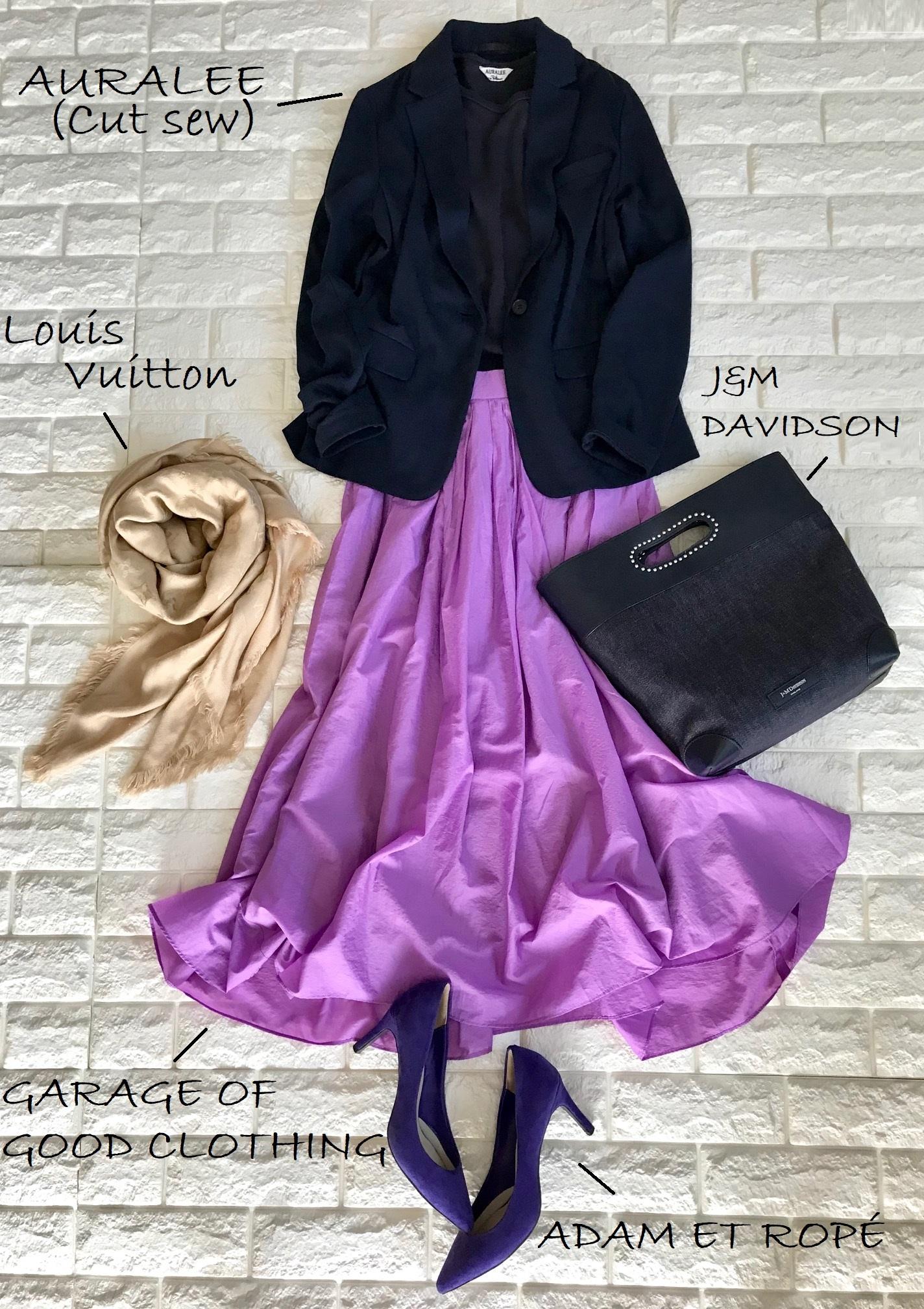 ユニクロのジャケットを合わせたきれい色スカートコーデ