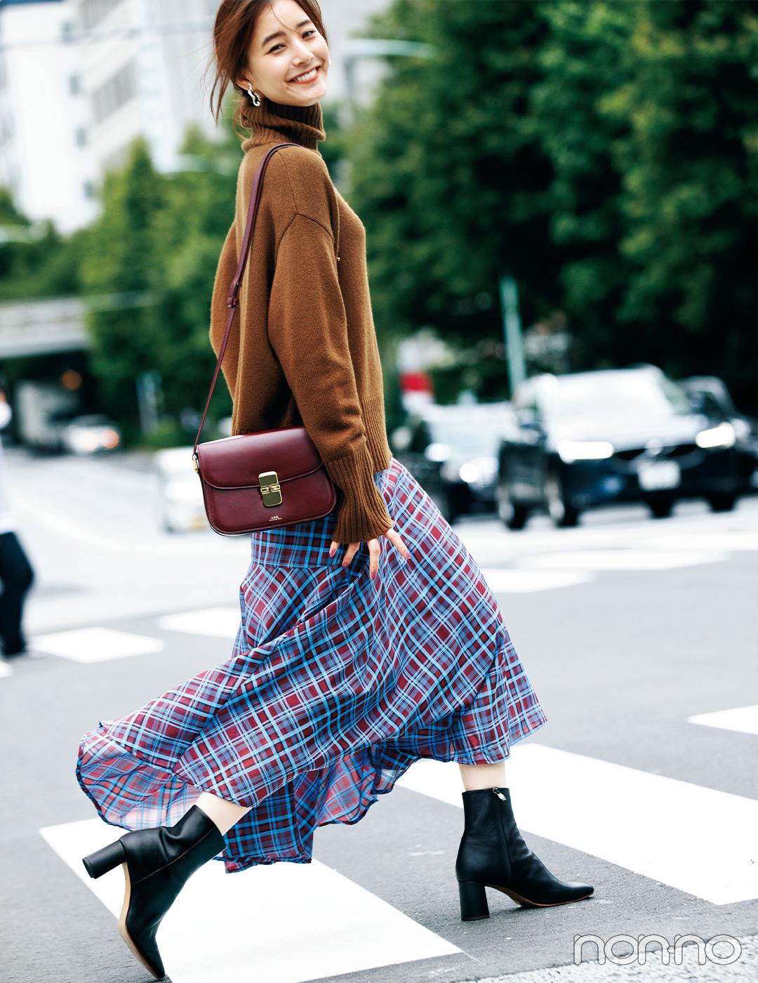 新木優子はフェミニンな揺れスカートで秋スタイルをぐっと軽やかに!【毎日コーデ】