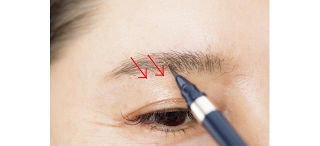 毛の密集している部分はノーリキッドでOK。薄くまばらな部分だけ、スッスッと毛先で描き足す。