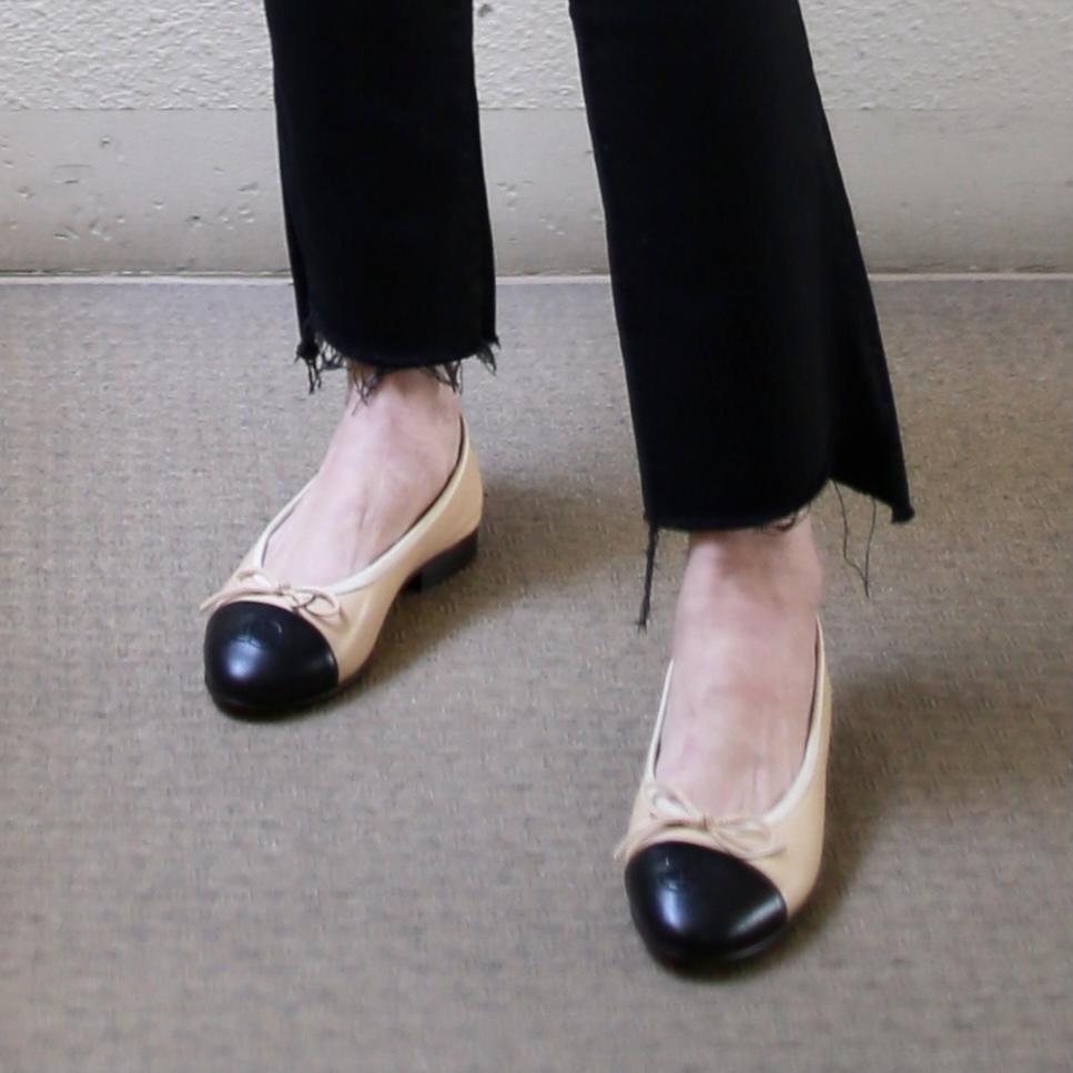 小柄コーデの足もと CHANELバレエシューズ サイズ34