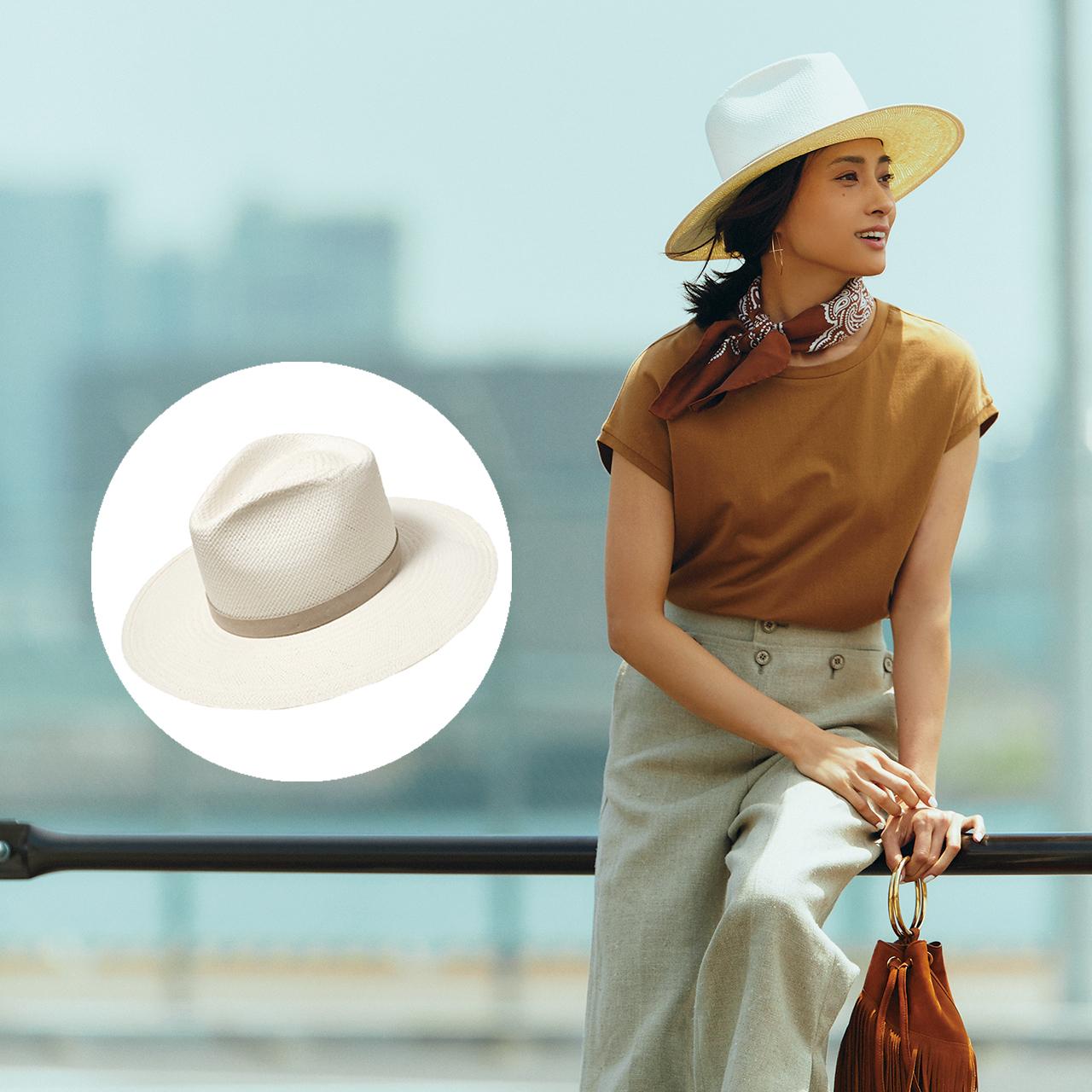 帽子×Tシャツ×パンツコーデ