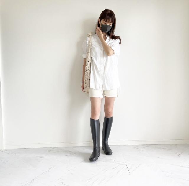 雨の休日 ロングシャツとレインブーツコーデ:OOTD【40代 私のクローゼット】_1_2