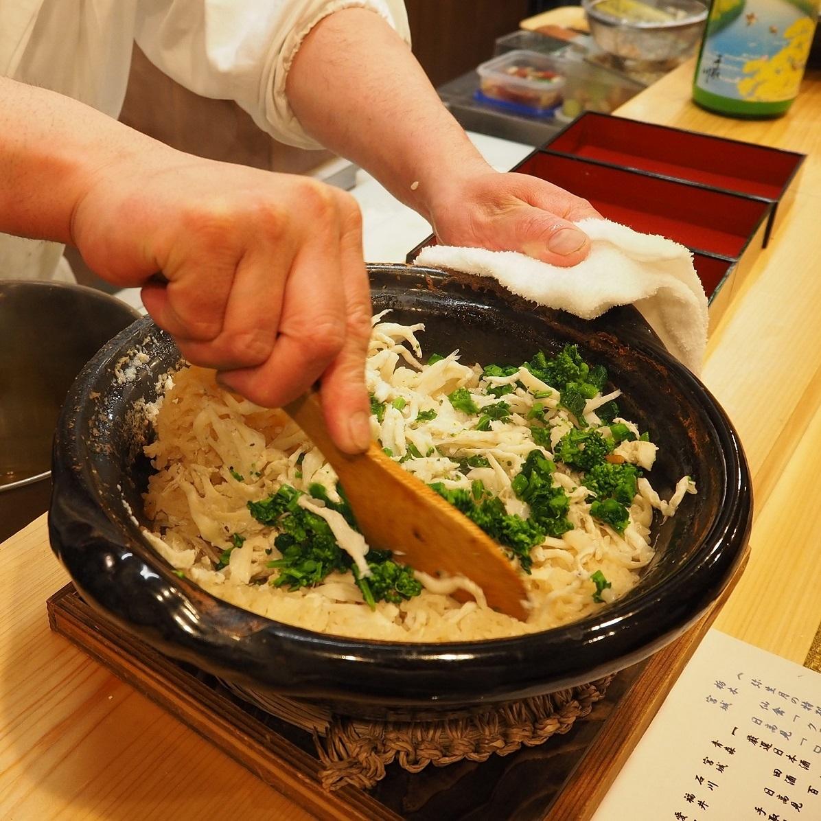 白魚と菜の花の炊き込みご飯