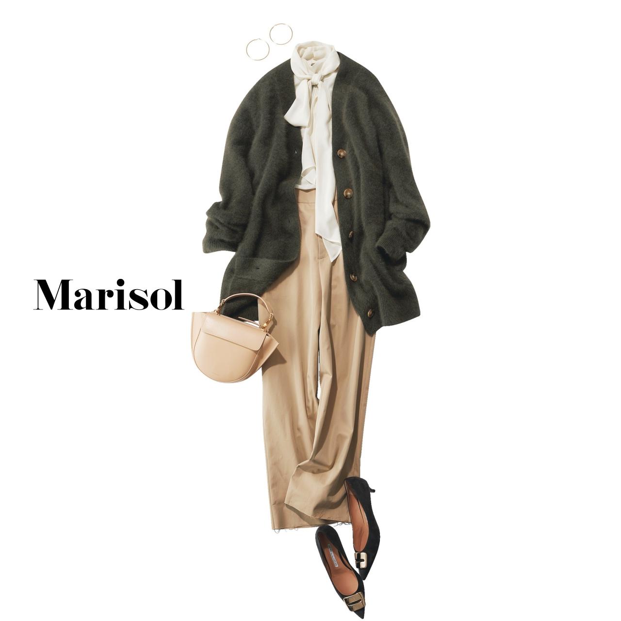 40代ファッション ミドル丈カーディガン×ブラウス×ワイドパンツコーデ