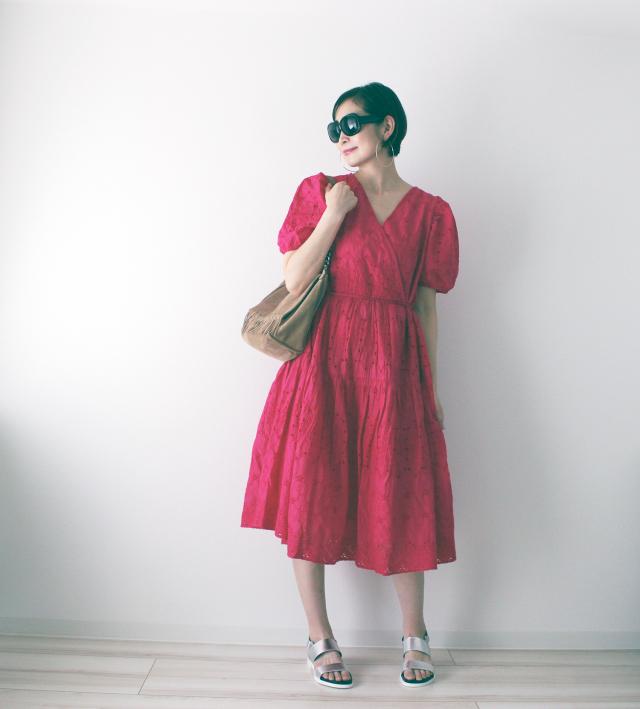 H&M ピンク パフスリーブ ワンピース
