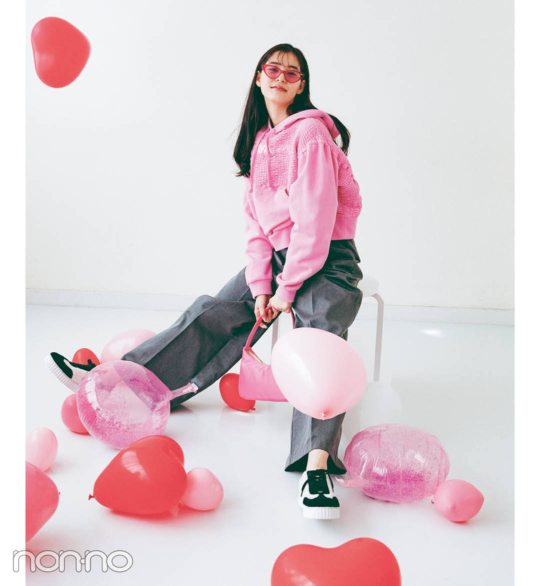 """【新木優子のPRETTY in Pink vol.3】カジュアルコーデをキュートにシフト! """"やんちゃなピンク""""_1_7"""