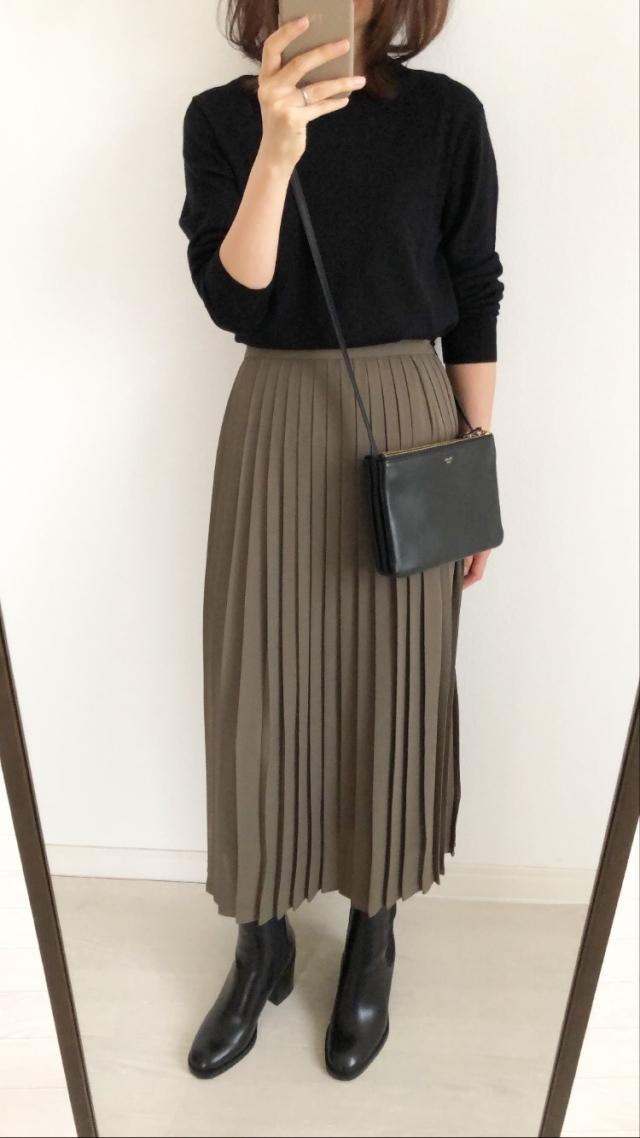 シフォンプリーツロングスカート OLIVE Mサイズ