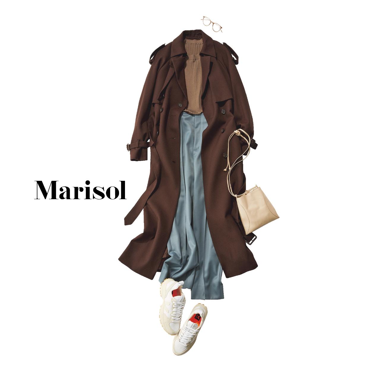 40代ファッション シルク混リブクルーネックニット×パンツコーデ
