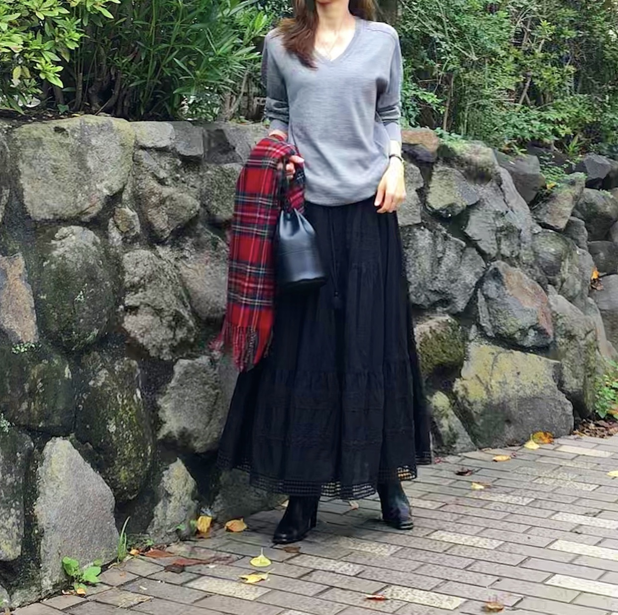 レーススカート+ゆったりトップスで、日本民藝館_1_6