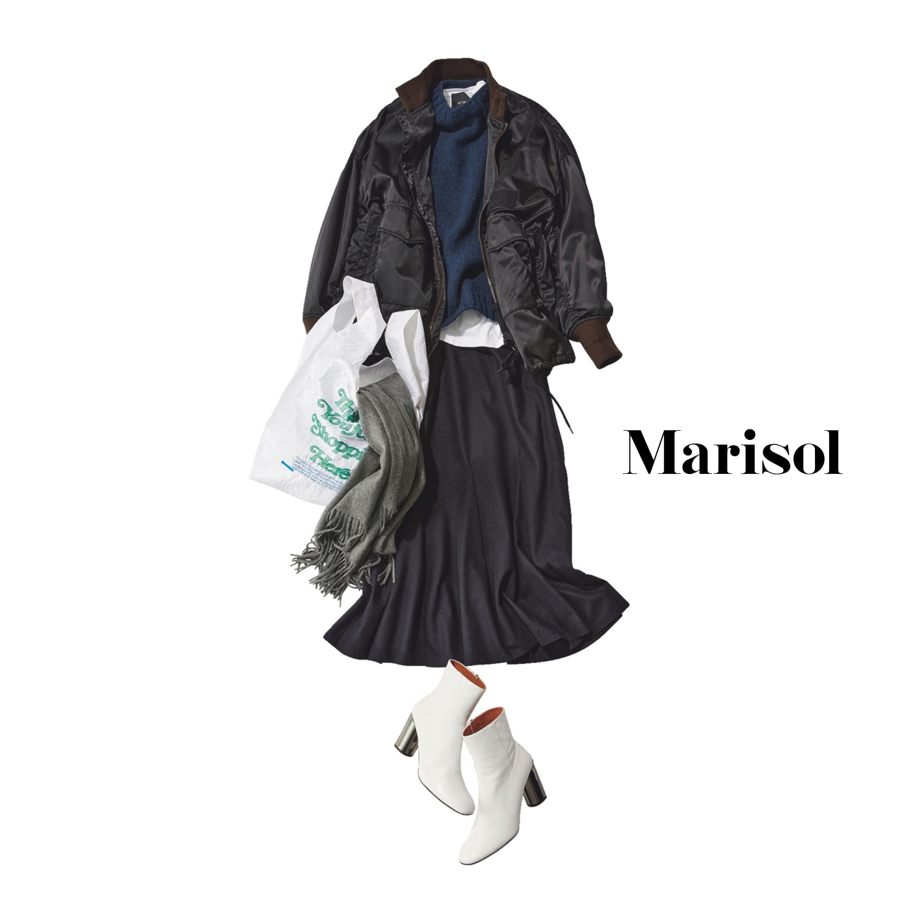 40代ファッション ニット×ブルゾン×スカート×ブーツコーデ