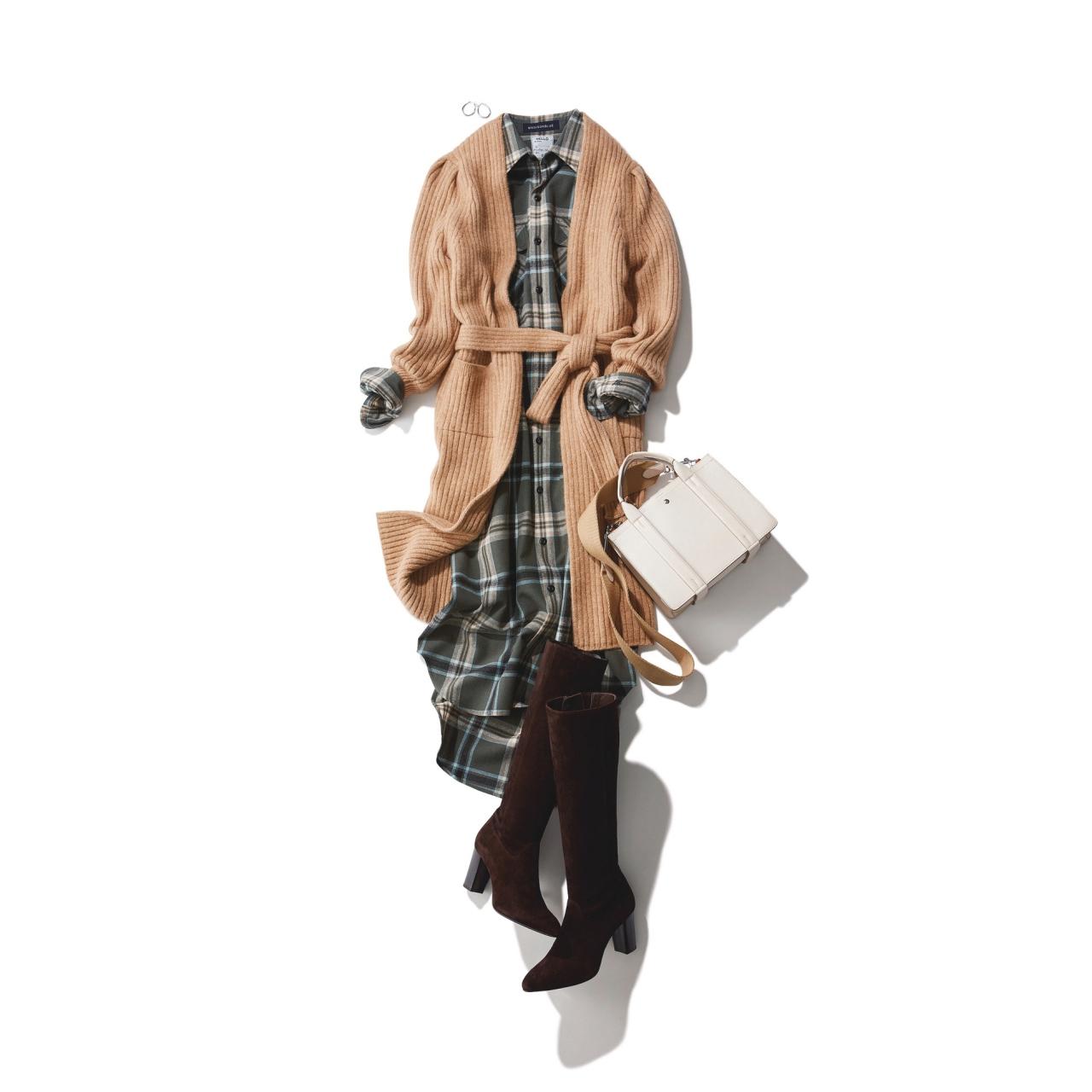チェック柄ワンピース×ロングブーツのファッションコーデ