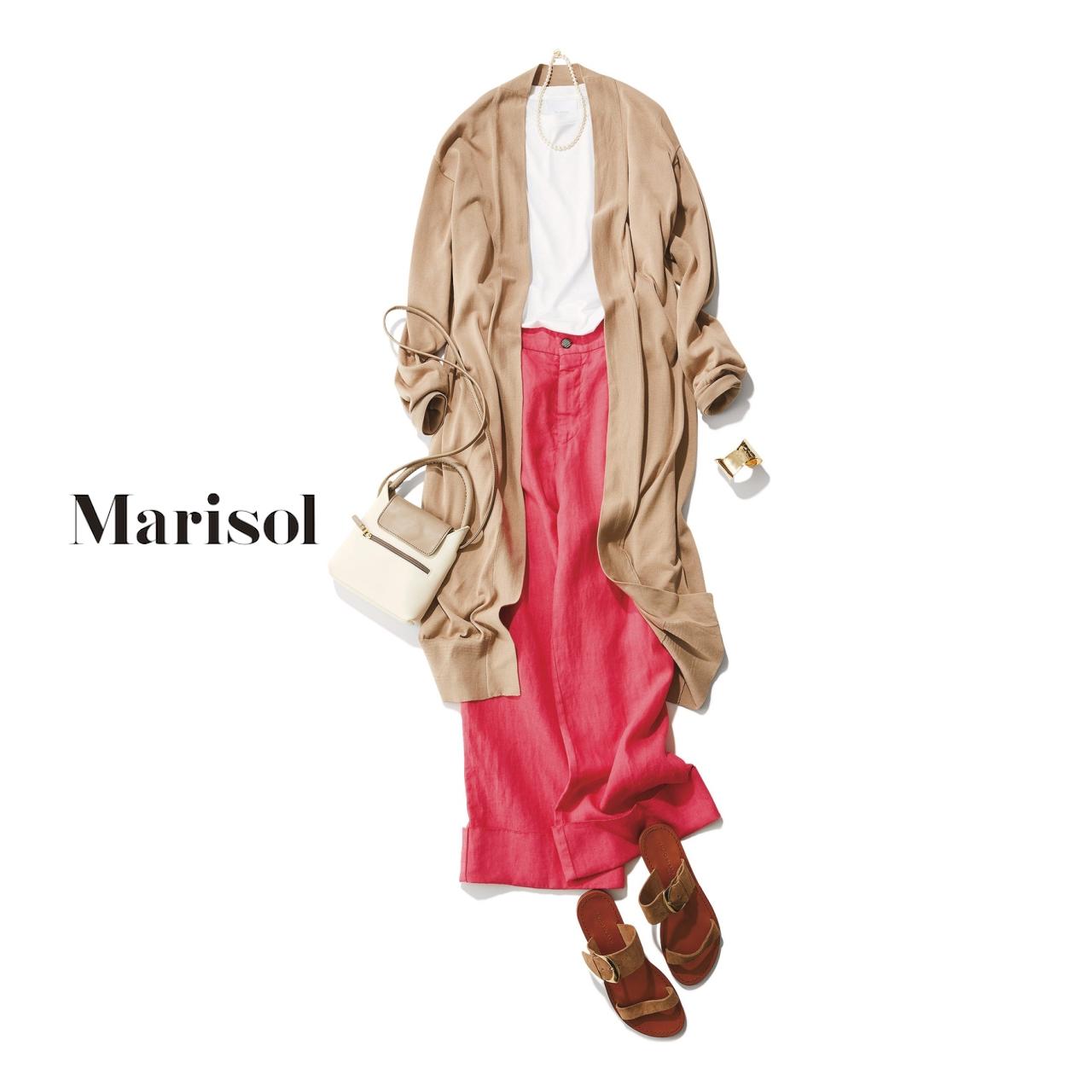 40代ファッション ベージュロングカーディガン×ピンクワイドパンツコーデ