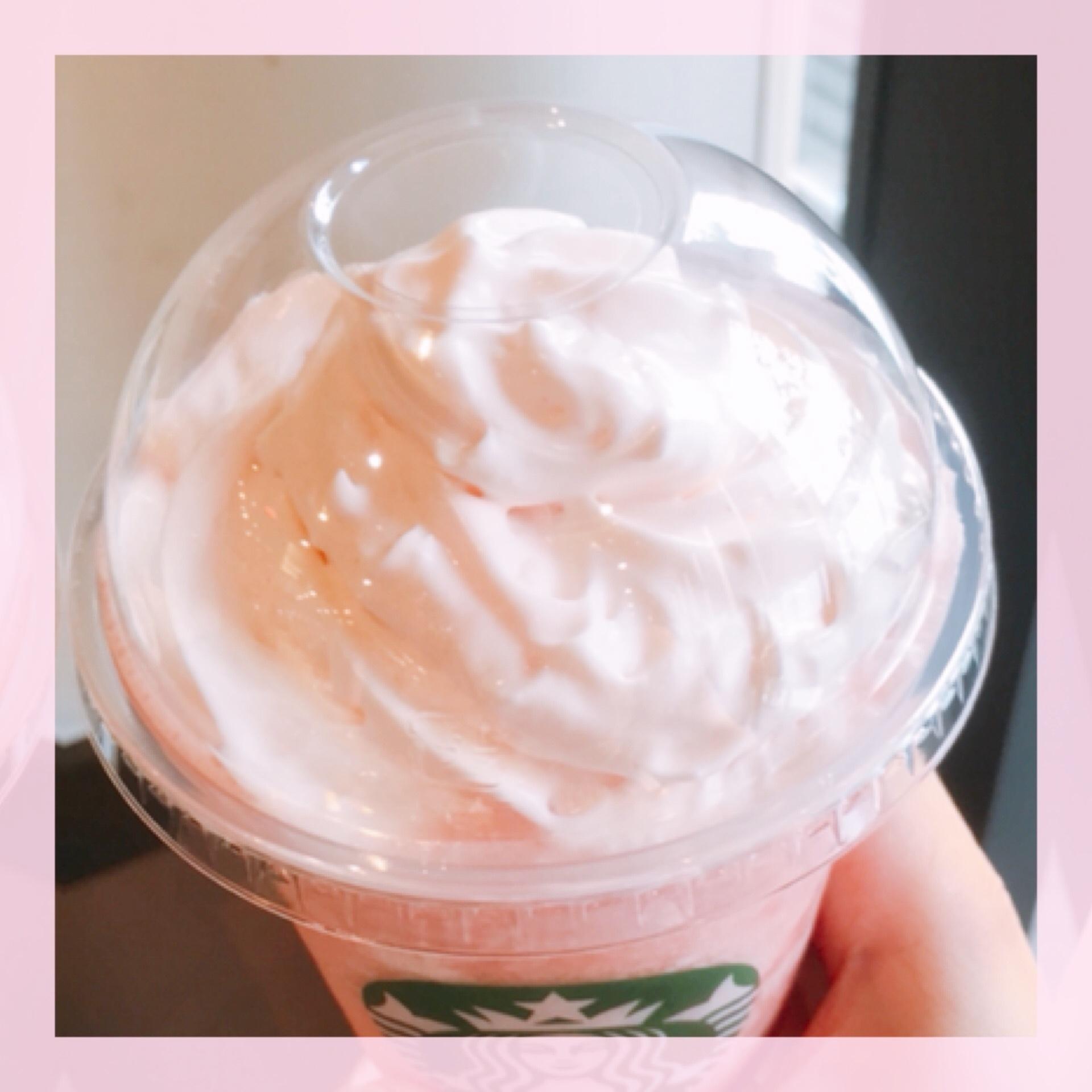 【スタバ新作】ピーチ ピンク フルーツ フラペチーノ®♩_1_2